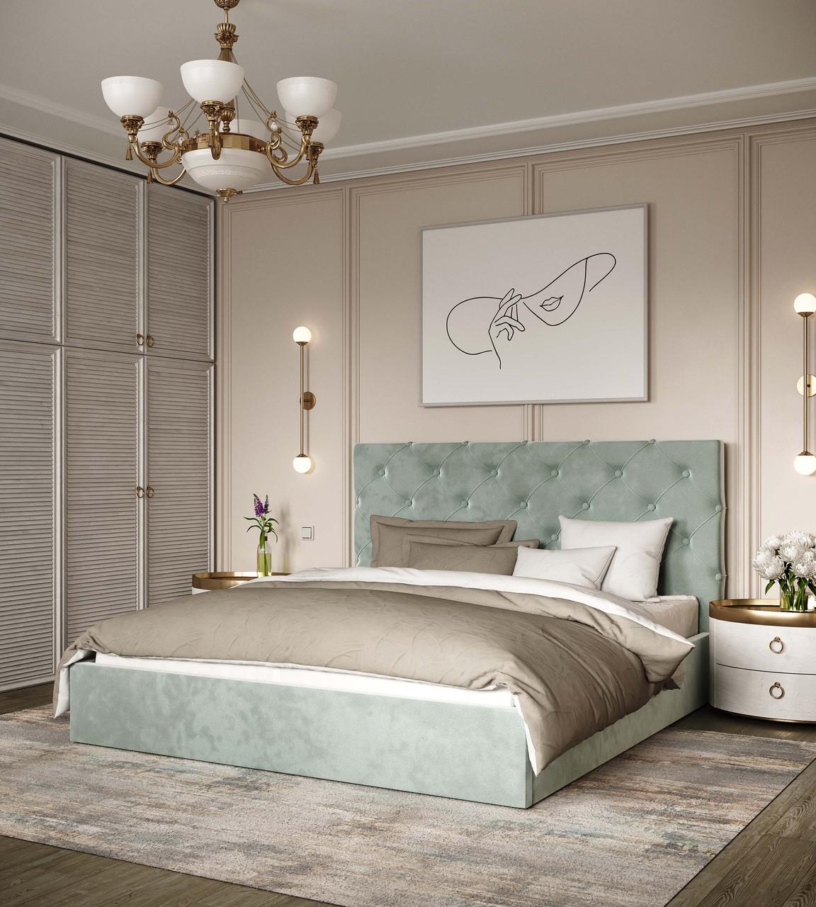 Ліжко Велюр без підйомного механізму 160х200 ТМ Viorina Deko