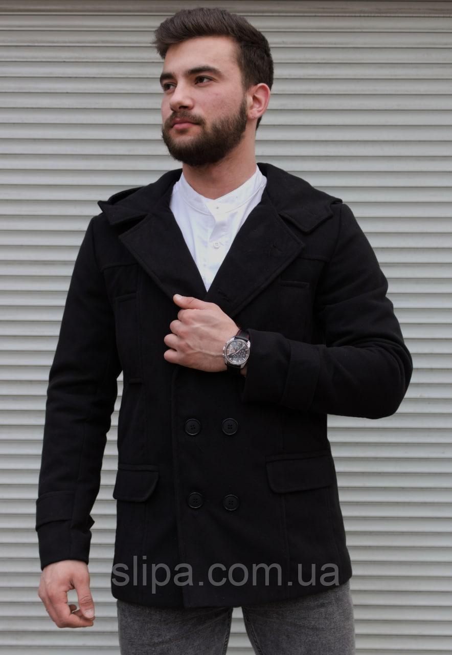 Чоловіче двобортне пальто з капюшоном чорне з кашеміру