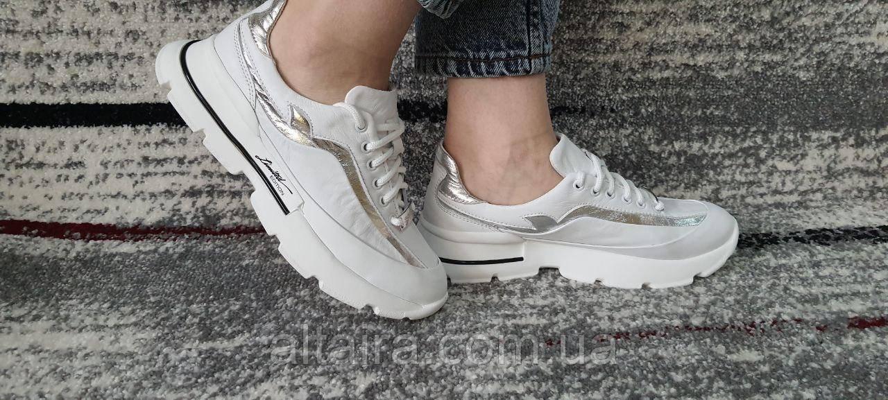 Женские белые кроссовки из натуральной кожи. 36-40