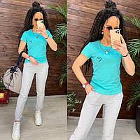 """Летний прогулочный трикотажный спортивный костюм футболка + штаны """"Аморе"""" - размеры S,M,L,XL, много цветов"""