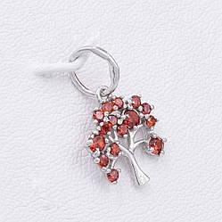 Серебряный кулон Древо познаний размер 20х12 мм вставка красные фианиты вес 1.0 г