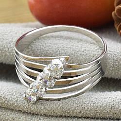 Кольцо серебряное женское Беатрис белые фианиты размер 20
