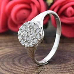 Кольцо серебряное женское Россыпь диамантов вставка белые фианиты размер 20