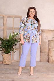 Оригинальный  женский брючный костюм двойка больших размеров блузка + брюки