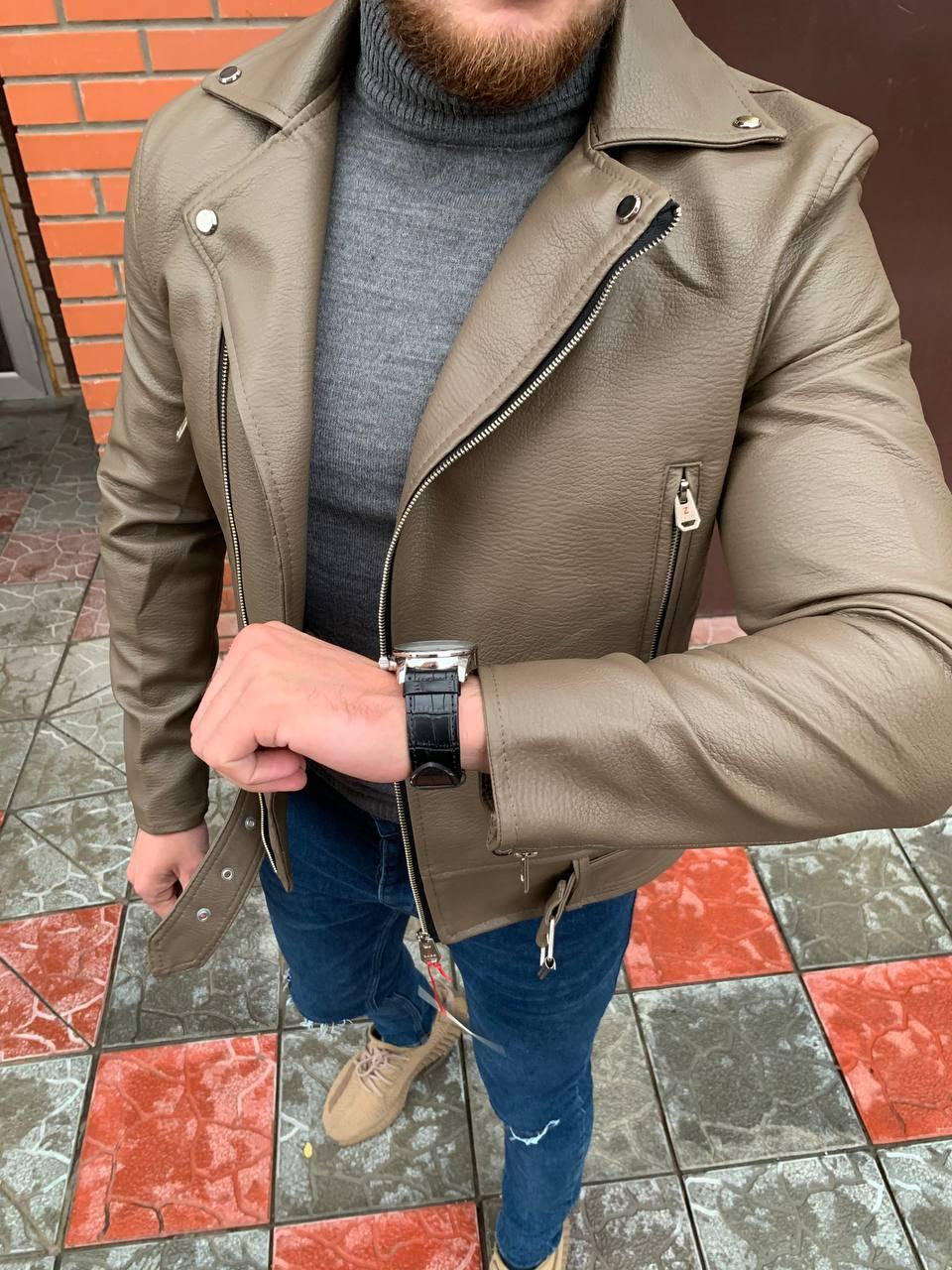 Мужская кожаная куртка-косуха