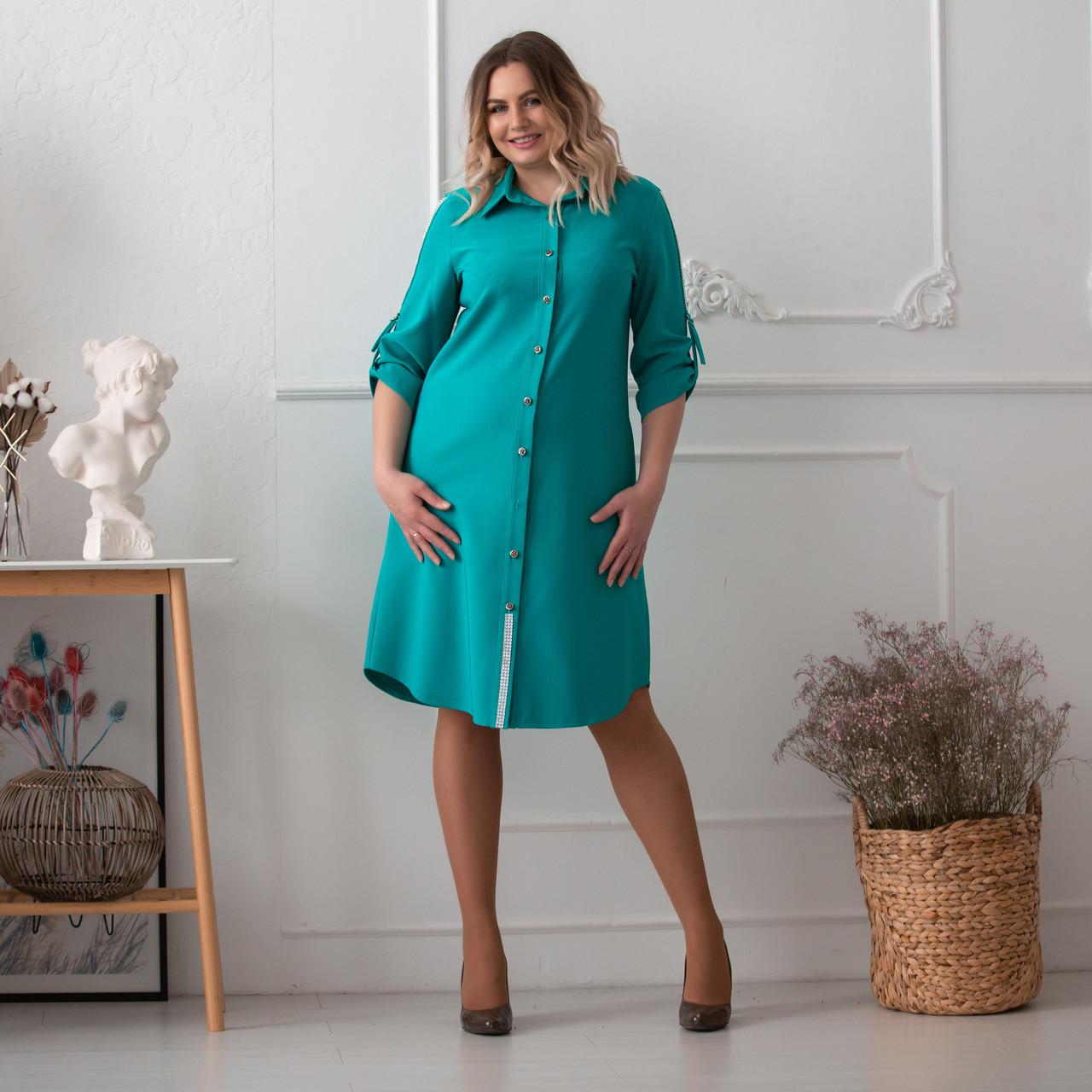 Повседневное платье женское большого размера   48-58 бирюзовый