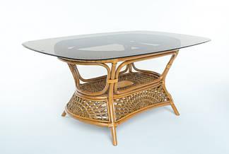 Обеденный стол Ацтека CRUZO (на 8 персон) натуральный ротанг 200*100см, светло-коричневый