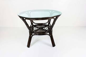 Обеденный стол Келек CRUZO натуральный ротанг темно-коричневый + стекло
