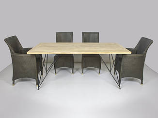 Обеденный комплект Париж CRUZO (стол 240х100 см и 4 стула + 2 кресла) ток лум металл