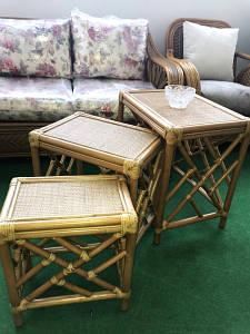 Комплект столиков Трио CRUZO натуральный ротанг ореховый