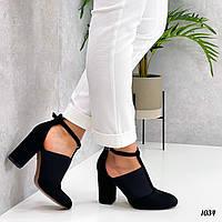 Жіночі туфлі на підборах замша еко 36,39 р чорний, фото 1