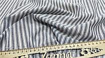 Нежная ткань лён (имитация льна) в бледно-джинсовую полосу