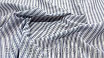Нежная ткань лён (имитация льна) в бело-голубую полосу
