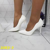 Женские белые туфли лодочки с острым носом на удобной шпильке