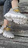 Женские кожаные кроссовки серого цвета с перфорацией на подошве в стиле ,,Prado,,. 36-41, фото 2