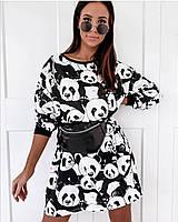 Женское платье для девушки с принтом Панда размер батал 48-52, черного цвета