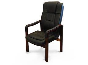 Кресло для конференций Новаро с накладками на подлокотниках комбинированная кожа люкс Черная (Диал ТМ)