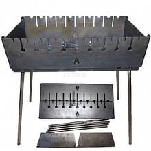 Мангал-чемодан на 10 шампуров 3 мм Огонёк