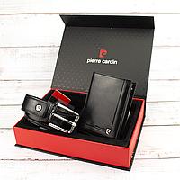 Подарунковий набір чоловічий (ремінь і портмоне) чорний Pierre Cardin ZG-02 black, фото 1