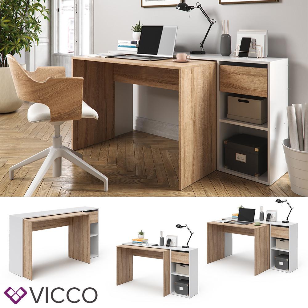 Выдвижной письменный стол 145x76 Vicco Ben, сонома, белый