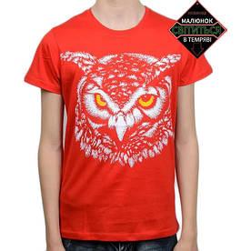Подростковая футболка Сова со светоотражающим принтом, красная (размер 38-44)