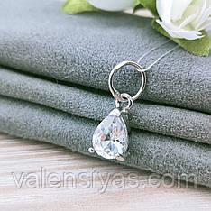 Кулон серебряный с камнем - капля