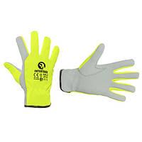 """Шкіряна рукавичка комбінована з високоякісної козячої шкіри та флуоресцентної зеленої тканини 10"""""""