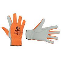 """Шкіряна рукавичка комбінована з високоякісної козячої шкіри та флуоресцентної помаранчевої тканини 10"""""""