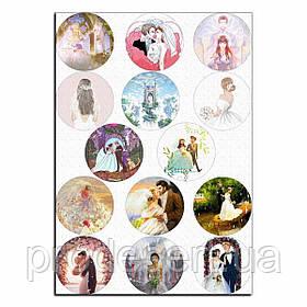 Свадьба 1 вафельная картинка для капкейков 6 см
