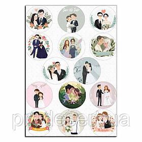 Свадьба 2 вафельная картинка для капкейков 6 см