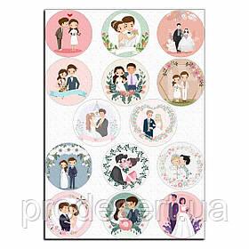 Свадьба 4 вафельная картинка для капкейков 6 см