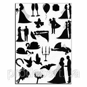 Свадьба силуэты вафельная картинка