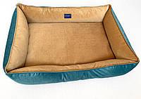 Двухсторонний лежак для больших собак размер 70x100 карамельно-бирюзовый