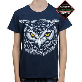 Подростковая футболка Сова со светоотражающим принтом, темно-синяя (размер 38-44)