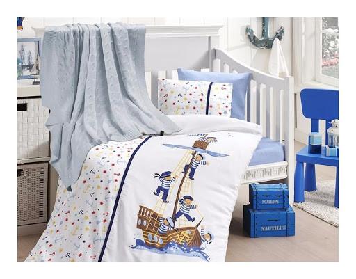 Детское постельное белье c вязаным пледом First Choice Nirvana Sailors N 421