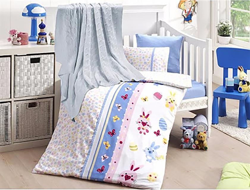 Детское постельное белье c вязаным пледом First Choice Nirvana Sweet Toys Mavi N 422