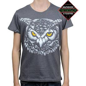 Подростковая футболка Сова со светоотражающим принтом, серая (размер 38-44)