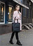 Вместительная женская черная сумка шоппер с большим карманом на молнии и двумя ручками матовая эко-кожа, фото 10