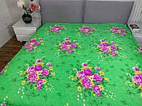 """""""зеленое с розами"""" летнее одеяло покрывало двуспальный размер 175/205"""