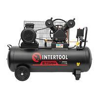 Компрессор 100 л, 3 кВт, 380 В, 10 атм, 500 л/мин, 2 цилиндра INTERTOOL PT-0013