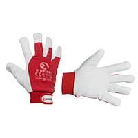 Шкіряна рукавичка комбінована з високоякісної шкіри та тканини з підкладкою 10 еластичний манжет на