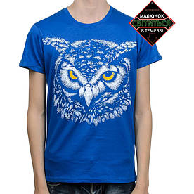 Подростковая футболка Сова со светоотражающим принтом, синяя (размер 38-44)
