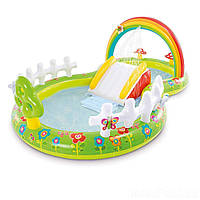 """Детский надувной бассейн с горкой игровой центр """"Мой сад"""" Intex 57154"""