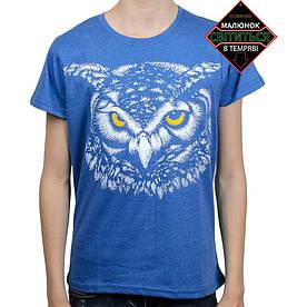 Подростковая футболка Сова со светоотражающим принтом, синяя меланж (размер 38-44)
