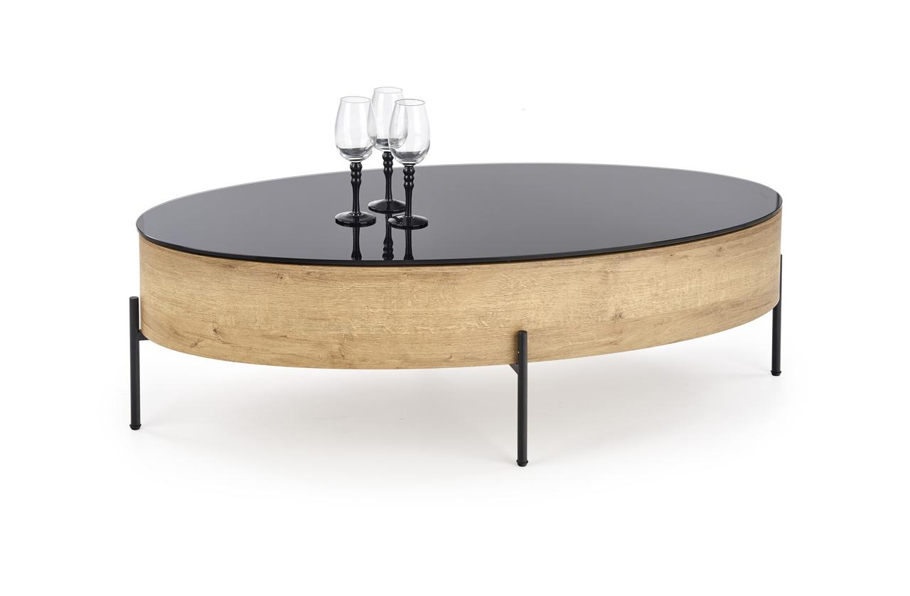 Журнальний столик ZENGA Halmar 120x60 Дуб Золотий / Чорний