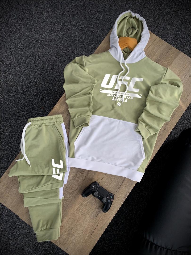 Стильный мужской спортивный костюм серо-белый с капюшоном, весенний комплект худи и штаны Турция