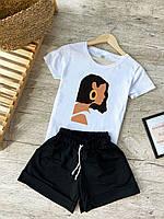 Шорты + Футболка комплект летний женский повседневный Fashion x white-black   Костюм женский ЛЮКС качества