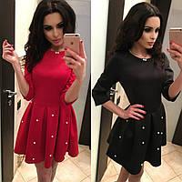 Модное стильное красивое весеннее женское платье с расклешенной юбкой и бусинами жемчуг 2021