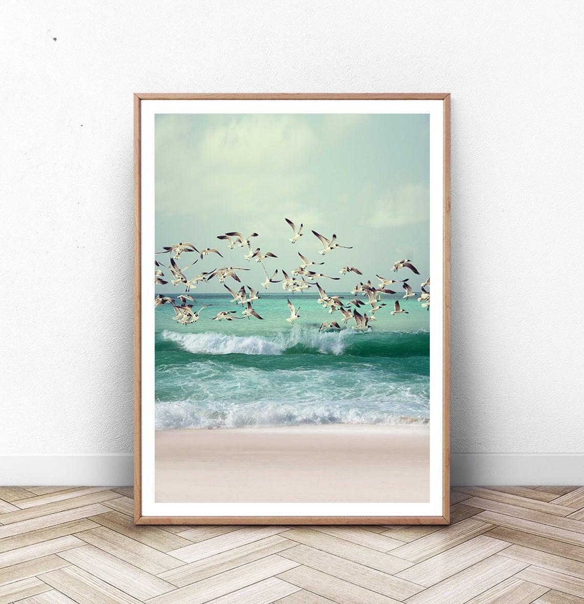 Постер на стену Beach Seagulls Ocean формат А3