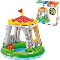 """Детский надувной бассейн с навесом Intex """"Королевский замок"""" 122х122 см, Детский бассейн с крышей для малышей"""